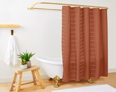Terracotta rust burnt orange mudcloth minimalist shower curtain - Boho shower curtain - Ethnic African Inspired - Extra Long up to 86 quot