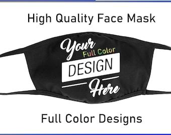 Custom Design Face Mask - Premium Black Airlume Cotton - Kids or Adults