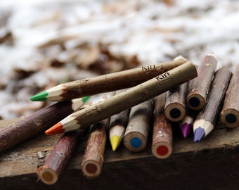 Wooden crayons with bark - tree bark crayons - handmade