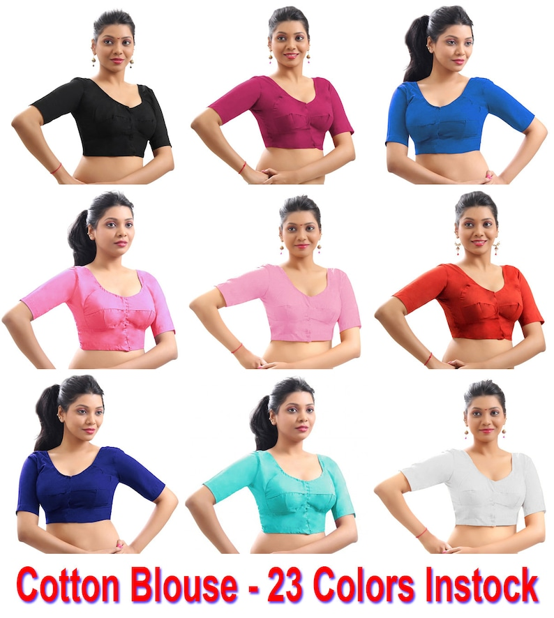 Dark Teal Pure Cotton Blouse Top Shirt Wedding Choli Bollywood Indian Available in 23 Colors