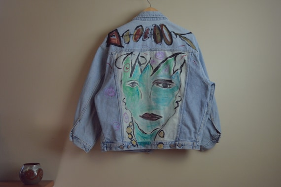 vtg hand painted denim jacket