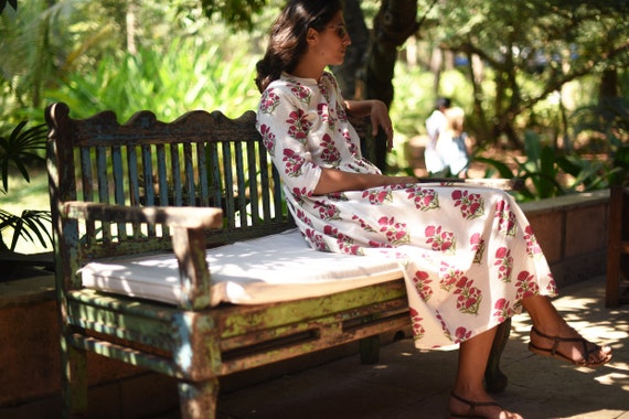 Cotton Hand Block Printed Long Dress / Boho Floral