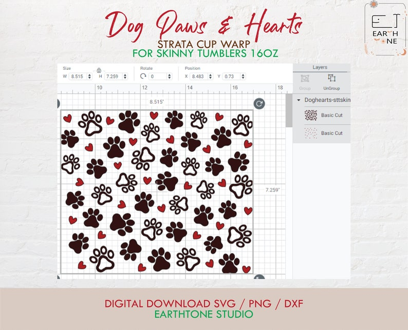 Hearts svg Dog Paws /& Hearts Strata SVG png dfx digital file full wrap for Strata Skinny Tumblers 16oz Paws svg svg file for Cricut