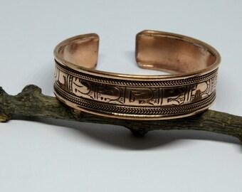 Gift Idea Bohemian Gypsy Style Bangle Ethnic Boho Copper Bracelet Bangle Nepalese Mantra Bracelet Bangle Tribal Open Cuff Bracelet