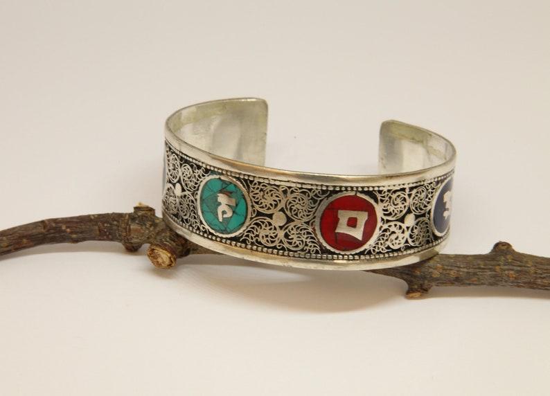 Boho Style Ethnic Cuff Bracelet Bangle Nepalese Bracelet Bangle Tribal Ethnic Open Cuff Bracelet Mantra Bracelet Gift For Him