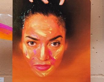 GRETEL I - canvas large art print colorful paint girl