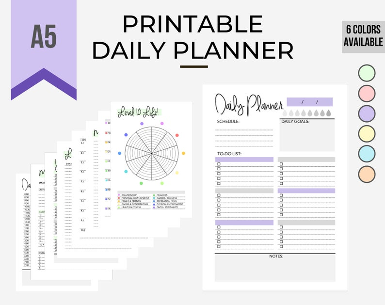 Printable Daily Planner Bundle LavenderSchedule To-do list image 0