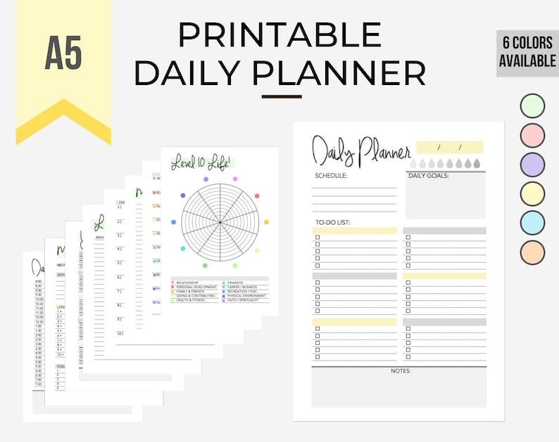 Printable Daily Planner Bundle YellowSchedule To-do list image 0