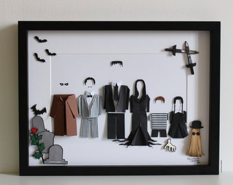 """Frame inspiration """" ADDAMS FAMILY """" - Paper - Origami - Films - Fantasy - Morticia - Gomez - Wednesday - Fetid - The thing - Decoration"""