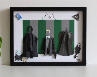 """Inspired frame """"SLYTHERIN"""" - Paper - Origami - School of Wizards - Rogue - Malefoy - Voldemort - Wall Decoration - Movies - HP"""