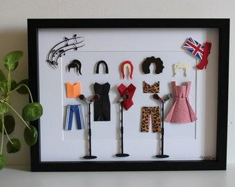 "Inspired frame ""Spice Girls"" - Origami - Pop music group - Singers - Victoria Geri Mel C Emma Mel B - Wall decoration - Gift"