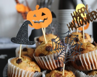 Cupcake Toppers HALLOWEEN - Party Decoration - Set of 20 Cupcake Toppers - HAPPY HALLOWEEN - Ghost - Pumpkin - Spider - Witch