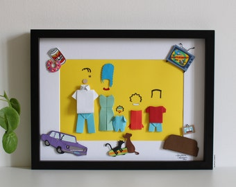 """Frame inspiration """"The Simpsons"""" - Paper - Origami - TV Series - Omer Simpson - Marge Simpson - Family - Wall Decoration"""
