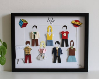 """Inspired frame """"The Big Bang Theory"""" - Paper - Origami - TV Series - Sheldon Cooper - Decoration - Scientists - Friends - Gifts"""
