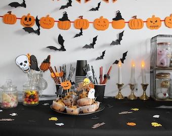 Garland 10 Pumpkins HALLOWEEN - Banner Pumpkins Halloween - Party Decoration - Pumpkins Smiles - Pumpkins Hats