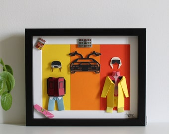 """Inspiration frame """"Back to the Future 2"""" - Paper - Origami - Film - Marty McFly - Doc Emmett Brown - DeLorean - Decoration - Gift"""