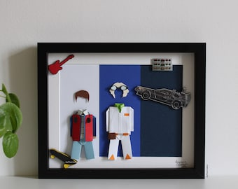 """Inspiration frame """"Back to the Future"""" - Paper - Origami - Cult Movie - Marty McFly - Doc Emmett Brown - DeLorean - Decoration - Gift"""