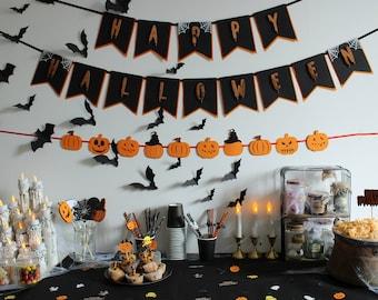 Happy Halloween Garland - Halloween Banner - Party Decoration - Spiders - Cobwebs - Halloween Party - Banner -