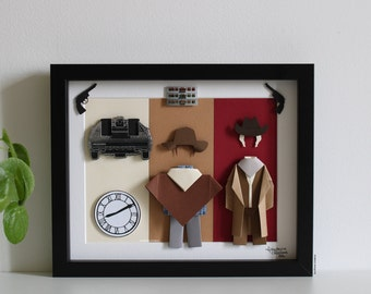 """Inspiration frame """"Back to the Future 3"""" - Paper - Origami - Film - Marty McFly - Doc Emmett Brown - DeLorean - Decoration - Gift"""