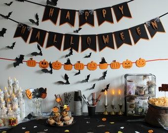 HALLOWEEN Party Decoration - KIT PETIT - Garland - Confetti - Cupcake Toppers - Happy Halloween - Pumpkins - Ghosts - Silks