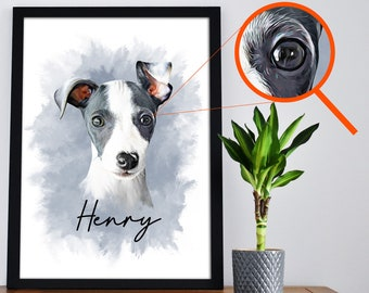 Pet Portrait Custom and Personalized. Dog portrait custom painting from photo. Pet Wall Art to Print on Poster or Canvas for gift.