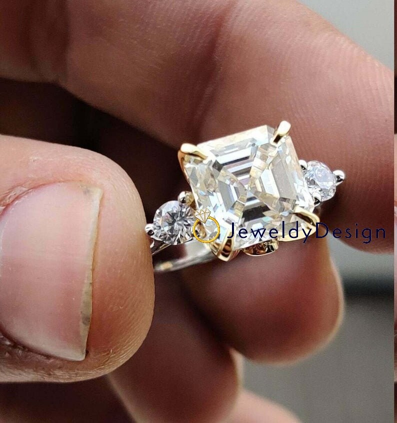 Designer Moissanite Ring,Anniversary Gift for Her 2.50Ct Asscher Cut White Moissanite Engagement Three stone Ring Solid 14k two tone Gold
