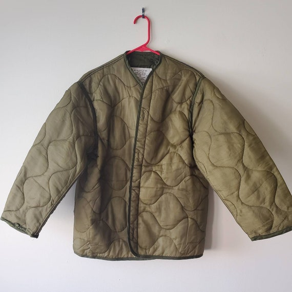 Green Army Quilted Liner Jacket Upcycled & Unworn
