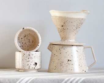Set of Coffee Dripper, Coffee Jug, Pot, Ceramic Pour Over Coffee Set, Tumbler, Handmade Ceramic, Pour Over, Gift Set, Reusable Filters