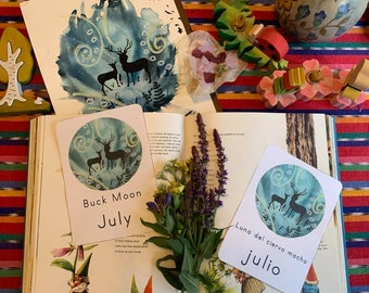 July Buck Moon Card in Spanish and English