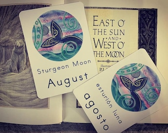 August Sturgeon Moon Card in Spanish and English