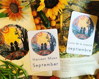 September Full Moon Card in English and Spanish
