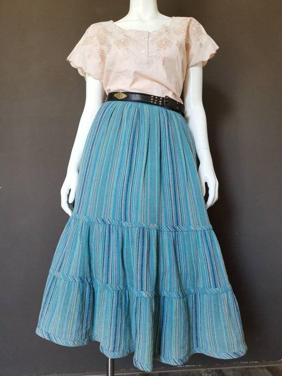 70s Lucie Linden blue linen prairie style skirt
