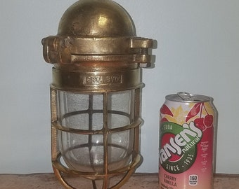 Authentic Ship Salvaged and Restored Solid Brass Passageway or Sconce Light