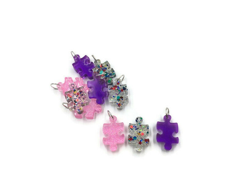 Resin Puzzle Piece Autism Awareness Colorful Puzzle Piece Puzzle Piece Pendant Resin Pendant Puzzle Piece Resin Charm