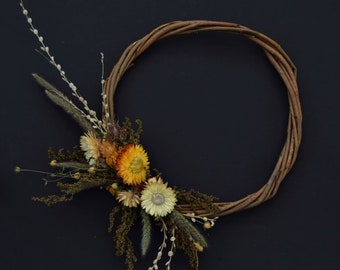 Vibrant dried flower wreath in naturals and orange, 24cm willow ring, wall hanging,