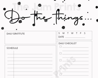Daily To Do List | Do the Things | Minimalist | Polkadot | Printable | Daily Schedule Planner | Instant Download