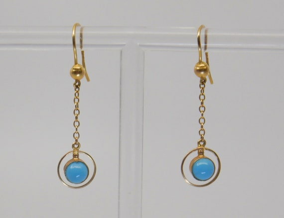 Art Deco 9ct Gold & Turquoise Drop Earrings