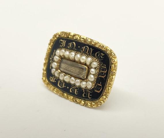 Antique Georgian gold, enamel, pearl, mourning /me