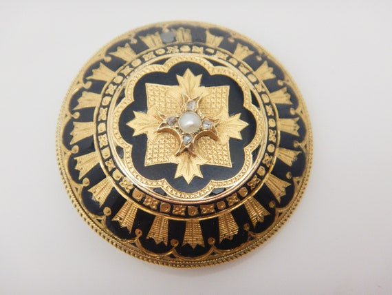 Antique Victorian mourning brooch pendant locket 1