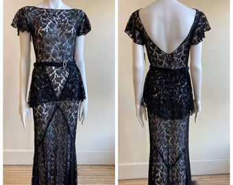 Stunning 1930s Black Lace Gown, Size M