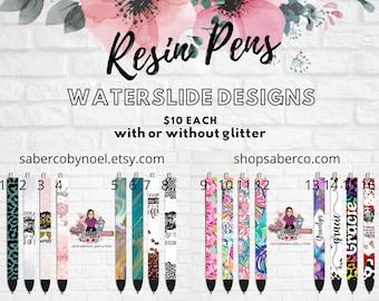 Custom Glitter Resin Pens, epoxy, monogram, name, inkjoy, gel pens, refillable