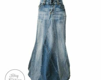 Vtg Womens Denim Skirt Jean Skirt Long Modesty Skirt 20  36x33 Boho Hippie Jean Skirt Modest Skirt Modesty Skirt Hippie Skirt Boho Skirt