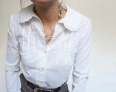Vintage 90's Romantic Shirt Blouse White // Sweet Retro Style