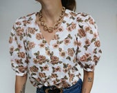 Vintage 90's Flowers Blouse Shirt Victorian Style // RETRO STYLE