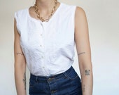 Vintage 90's T-Shirt Blouse with embroidery White Summer Style