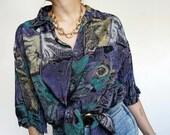 Vintage 90's Oversized Shirt Blouse violet tones RETRO Style