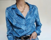 Vintage 90's Shirt Blouse Blue turquoise abstract RETRO style and Chic