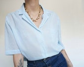 Vintage 90's Light Blue Shirt Blouse 100% Cotton Semi Transparent // Size M