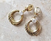 90's Vintage earrings like gold // Retro golden earrings with strass