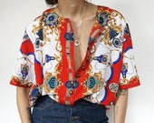 Vintage 90's Shirt style Blouse Retro Red and White Ornaments